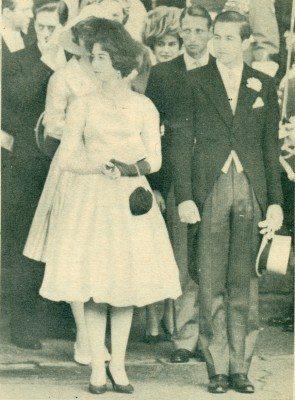 Ηριγκίπισσα Σοφία και ο Διάδοχος Κωνσταντίνος στις 8 Ιουνίου 1961 , στους γάμους του Δουκός του Κέν με την δεσποινίδα Κάθριν Γούρσλευ.