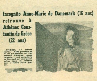 Ο γαλλικος τύπος ανακοινώνει την άφηξη της Άννας-Μαρίας τον Οκτώβριο 1962 στην Αθήνα.