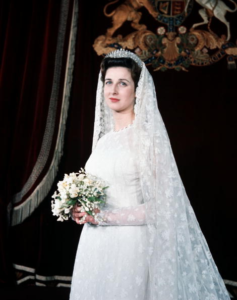 London, England. 24th April 1963. Princess Alexandra is pictured in her wedding gown prior to her marriage to Angus Ogilvy.